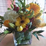 Seasonal Flowers Cube Vase