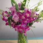 Dendrobium orchids and roses