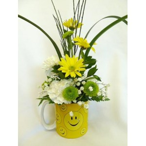 Smiley Face Floral Mug