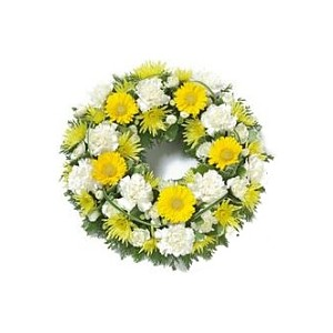 Yellow and White Funeral Wreaths